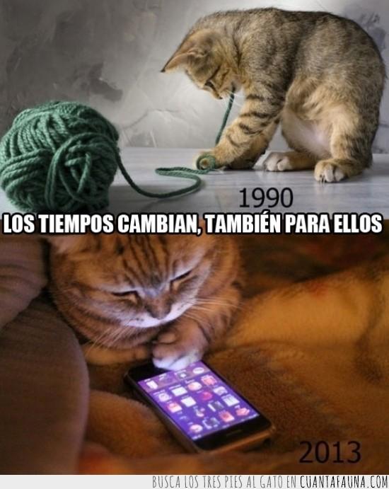 1990,2013,cambian,iphone,ovillo de lana,smartphone,tiempos