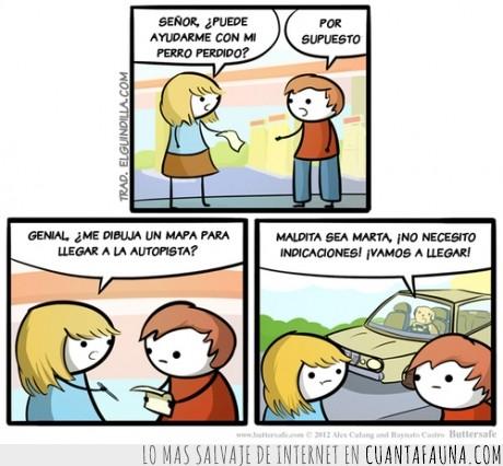 auto,autopista,chica,chico,conductor,mapa,perdido,Perro