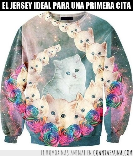 colorines,cursi,flores,gatos,horrible,sweater