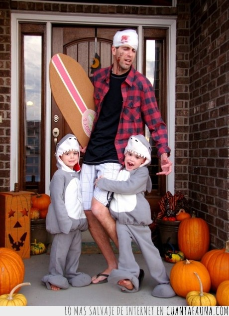 disfraz,halloween,hijos,padre,tiburón