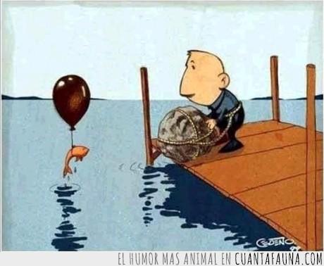globo,hombre,morir,pez,piedra,plotar,rica,suicidio