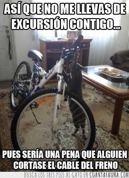 bicicleta,cable,cortar,excursion,freno,llevar