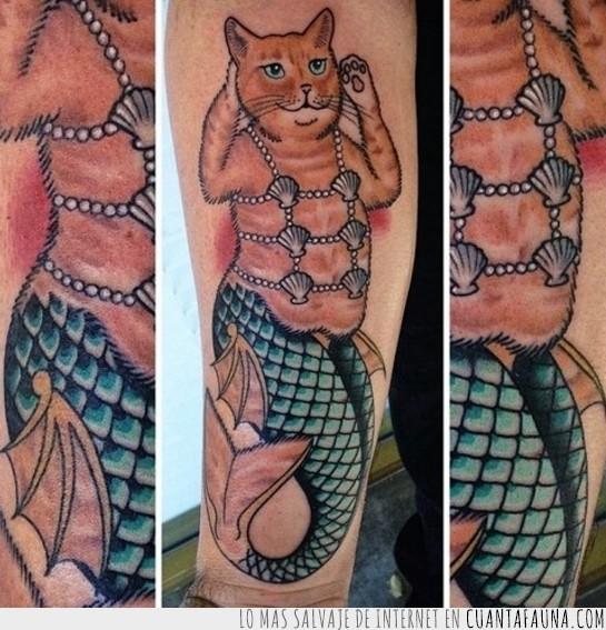 concha,gata,sirena,sirenita,tatuaje