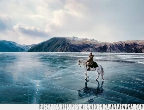 caballo,congelado,helado,hielo,jinete,lago,naturaleza,Rusia