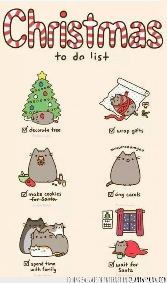árbol,familia,Gato,lista,Navidad,regalos,tareas,villancicos