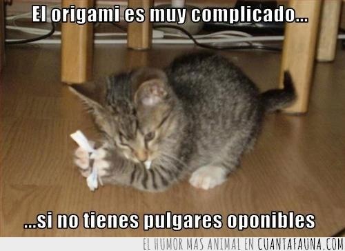 complicado,difícil,gato,oponibles,origami,papiroflexia,pulgares
