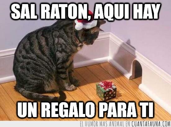 gato,navidad,papa noel,presa,raton,regalo,trampa