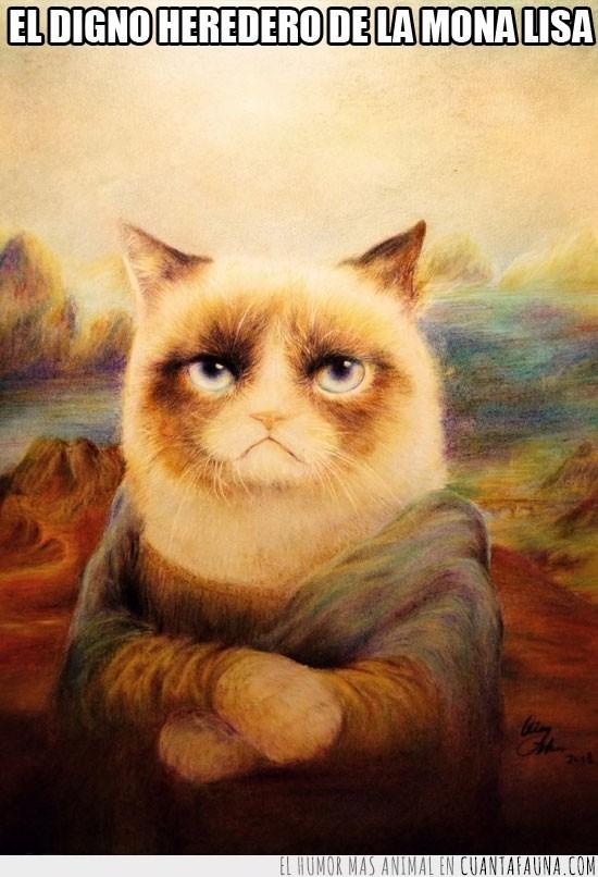 Da Vinci,gato,Gioconda,Grumpy Cat,Mona No Lisas,pintura