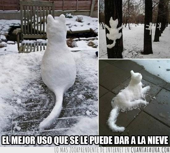 divertido,esculturas,gatos,nieve