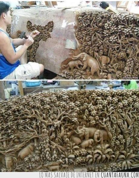 árboles,elefante,escena,esculpir,escultura,hombre,Roca,tallar