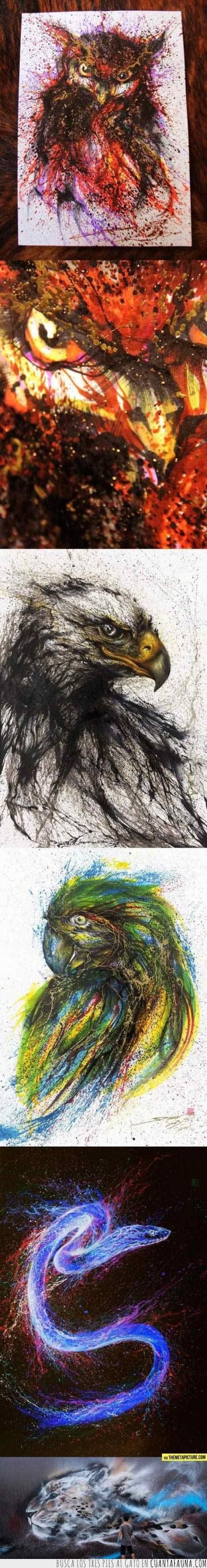 abstracto,Águila,arte,aves,Buho,estilo,leopardo,Loro,pintura,serpiente.