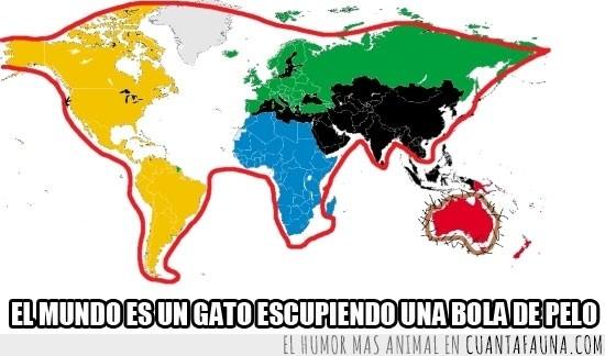 África,Ámerica,Antártida,Asia,continentes,Europa,forma,gato,jugar,mundo,Oceanía,océanos,ovillo,países