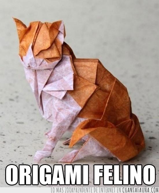 arte,color,esmero,figura,folios,Gato,naranja,obra,origami,paciencia,papel