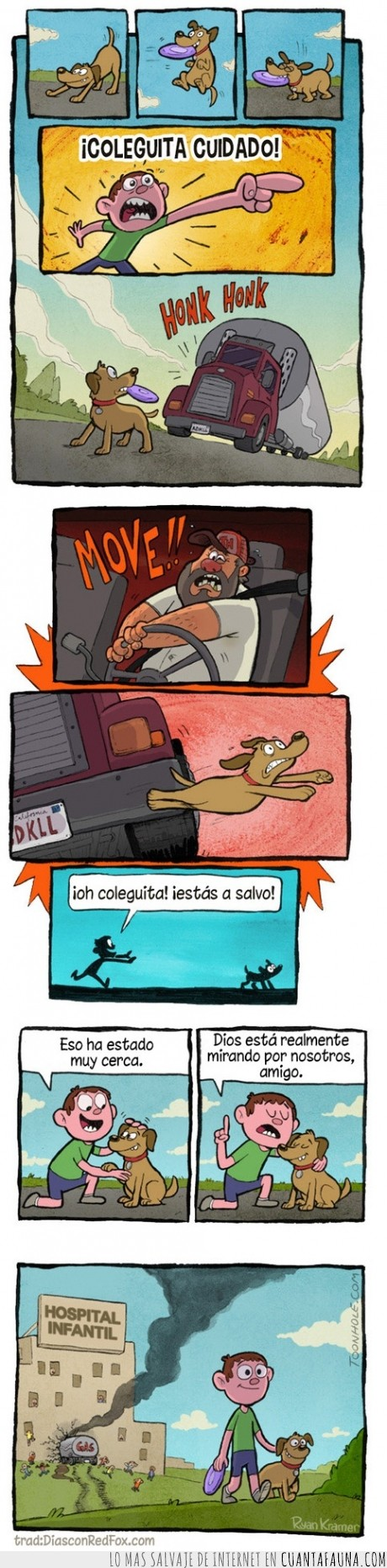 accidente,camion,perro,salvar