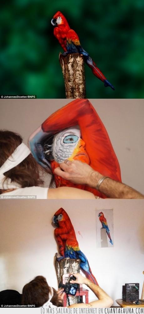 body painting,Johannes Stoetter,loro,maquillaje,modelo