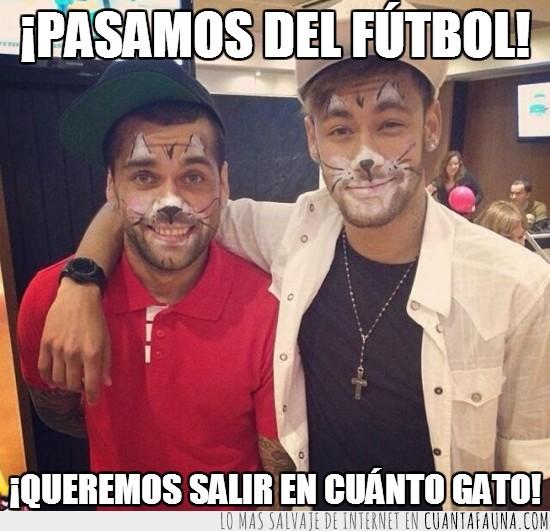 acto benefico,barça,barcelona,dani alves,gatos,maquillaje,neymar
