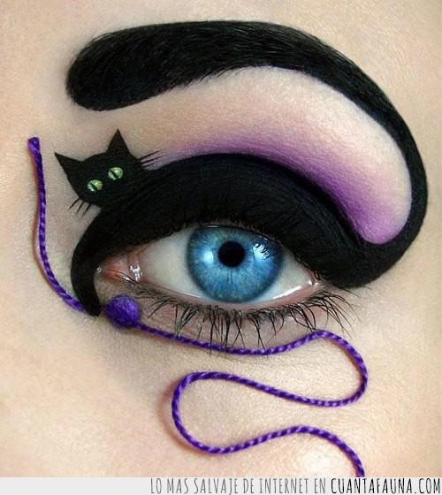 gato,loca de los gatos,maquillaje,ovillo de lana