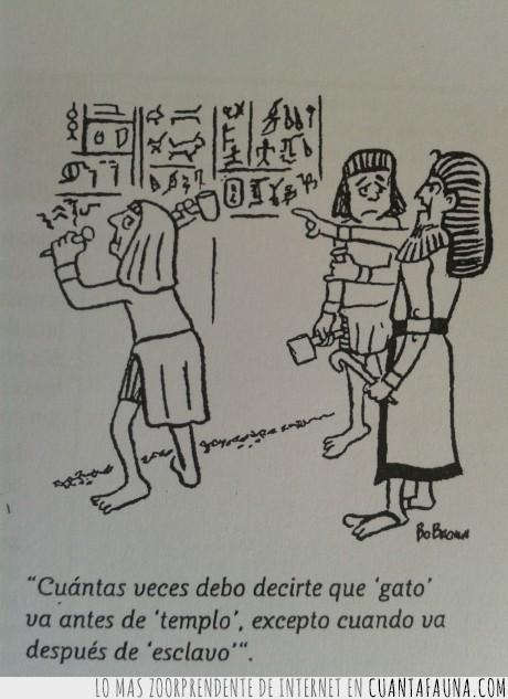 alumno,antes,egipcios,escribir,escritura,gato,jeroglíficos,profesor,tallar,templo