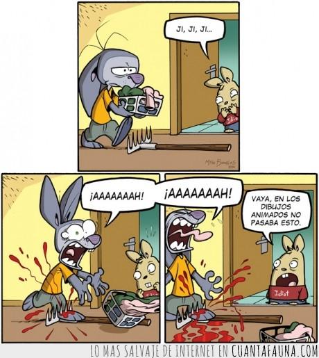 clavar,en los Simpsons el resultado es diferente,liebre,pisar,rastrillo