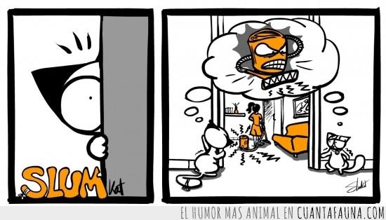así lo deben ver,aspiradora,gato,monstruo,pensamiento