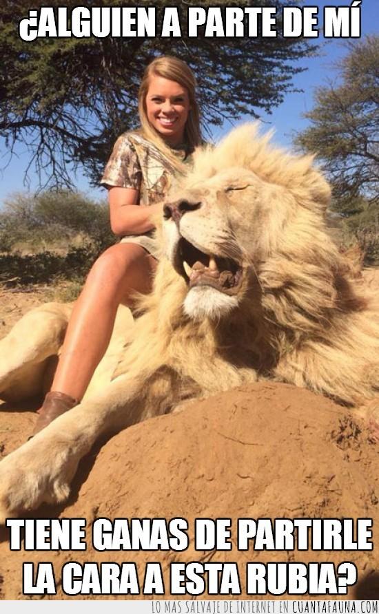 19 años,caza,cheerleader,dos hostias bien dadas,felino,gato,grande,león,muerto,rubia
