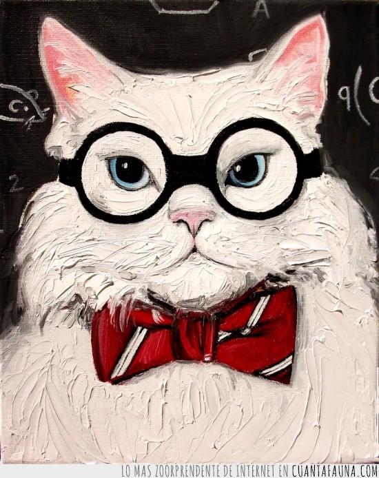 cientifico,Gato,guapo,pintura,quimico,seriedad