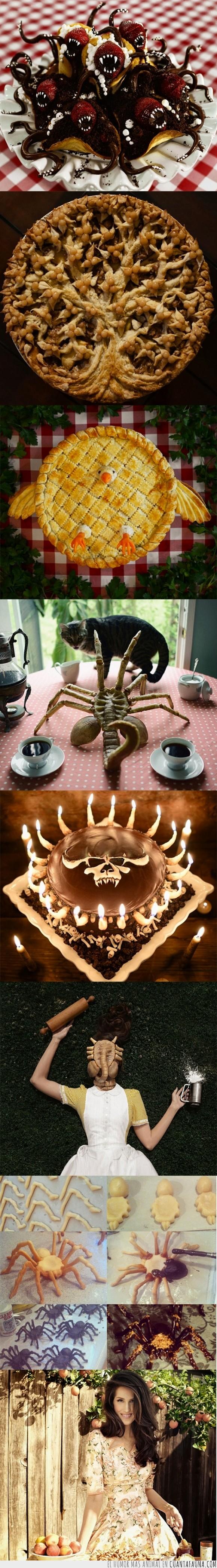 a lo tim burton,araña,christine mcconnell,decoración,gotico,pastel,reposteria,satan,tarta