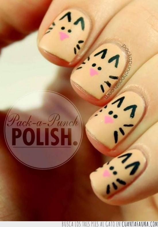 diseño,esmaltes,gatos,nail art,nails,pintar,uñas