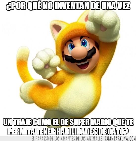 Felino,Gato,Mario Bros,Poderes felinos,Super Mario 3D World,Traje