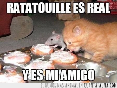 comelones,Gatito,gato,pastel,raton,trabajo en equipo