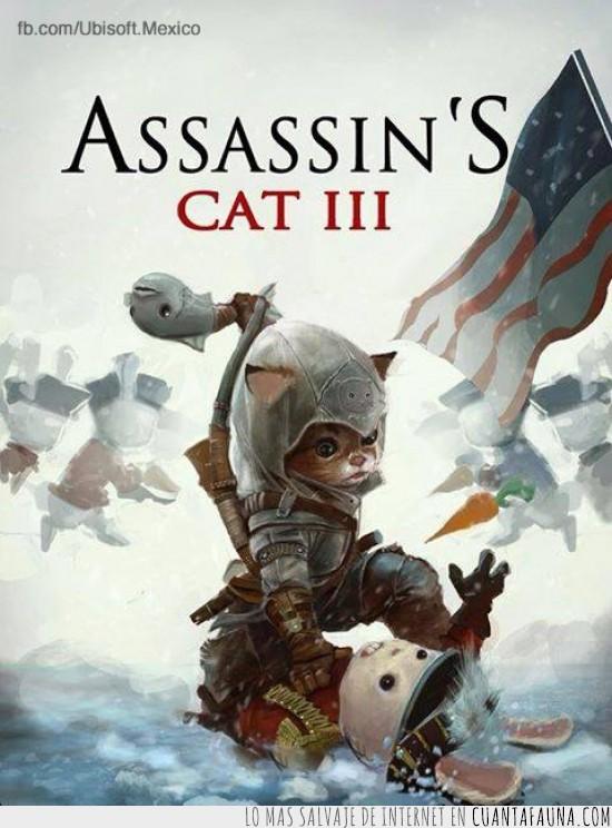 asesino,connor,gatos,videojuego