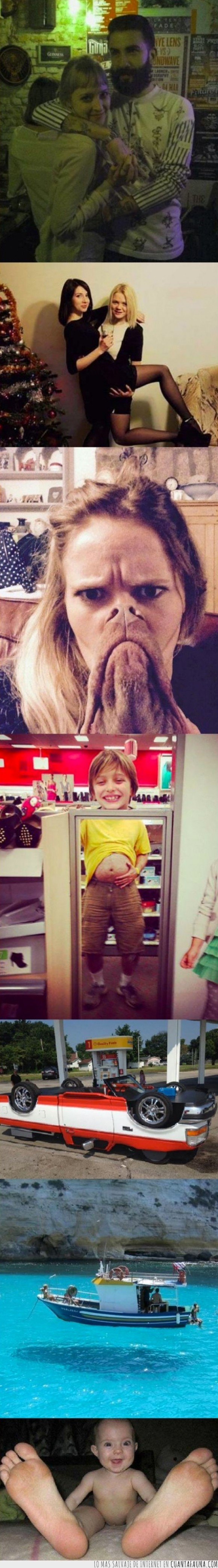 bebé,cerebro troll,coche,divertido,fotografías,ilusión,juego,perro,retrato,superposición
