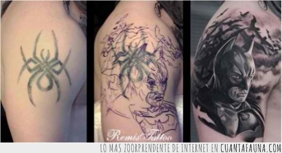 araña,arreglar,batman,brazo,tatuaje