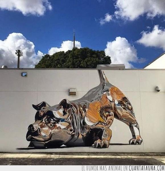 arte,cachorro,fetch,graffiti,hiperrealista,jugar,metal,Miami,perro,pintura,plata,platino,real