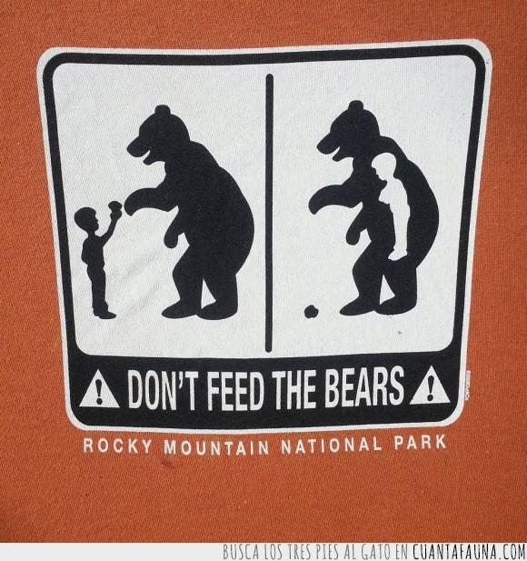 ataques,aviso,cartel,oso,parque nacional,plantigrados,Rocky Mountain