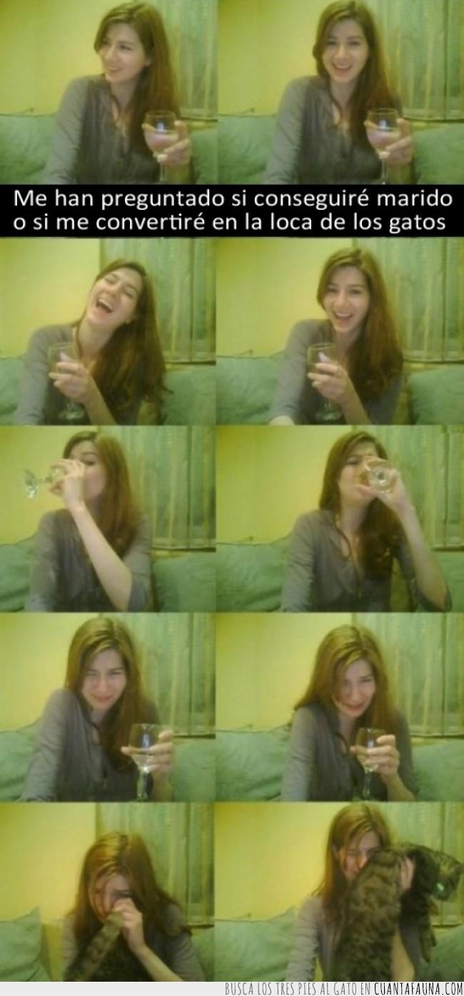 beber,Gatos,Loca,mas gatos,mejor que con ciertos hombres,que no tiene por qué ser malo,Triste,vino