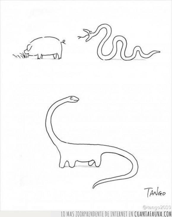 Cerdo,comer,cómic,Dibujos,diplodocus,historieta,humor,serpiente,víbora
