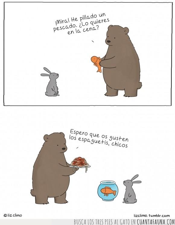 cena,cenar,espaguetis,liebre,oso,pescado,pez,spaghettis