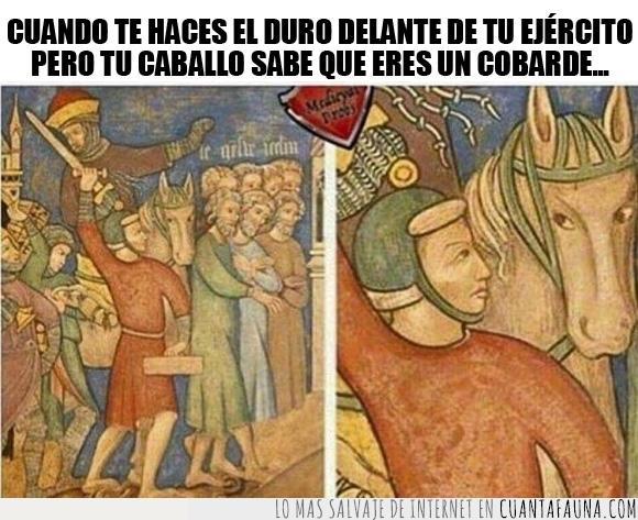 arte,caballo,cobarde,medieval,meme,pintura,tipo duro