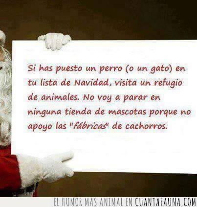comprar cachorros,mejor adoptar,mensaje,papá Noel,regalo,tiendas de animales