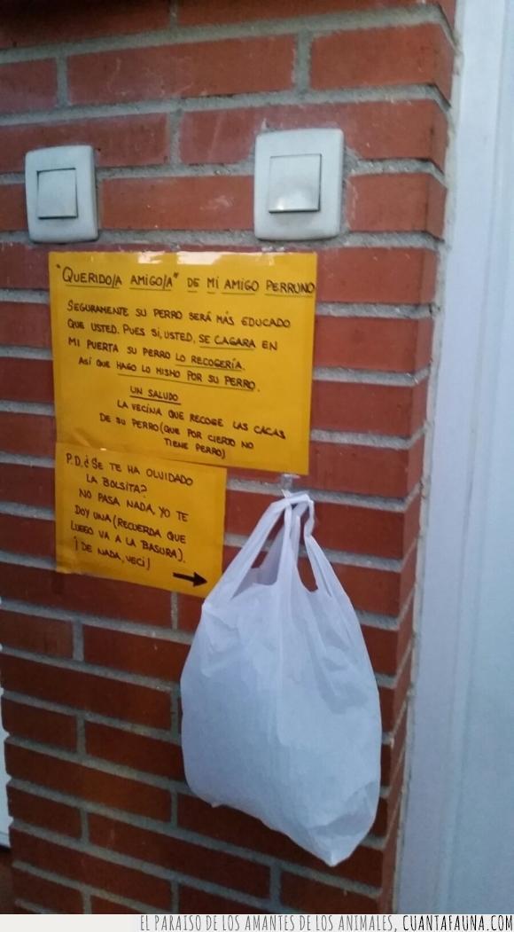 bolsa,caca,mira salgo en cuanta razón,nota,perro,por lo menos es majo y le deja la bolsa,vecino