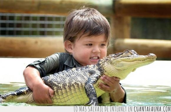 bebé,cocodrilo,cria,crio,mini Steve Irwin,niña,niño,peligro