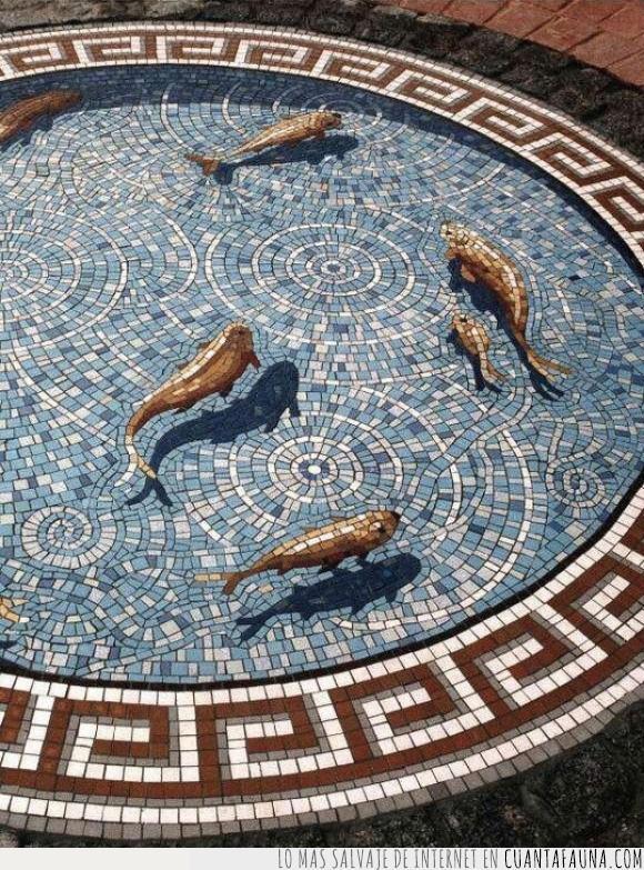 3D,arte,azul,baldosas,efecto,mosaico,pez