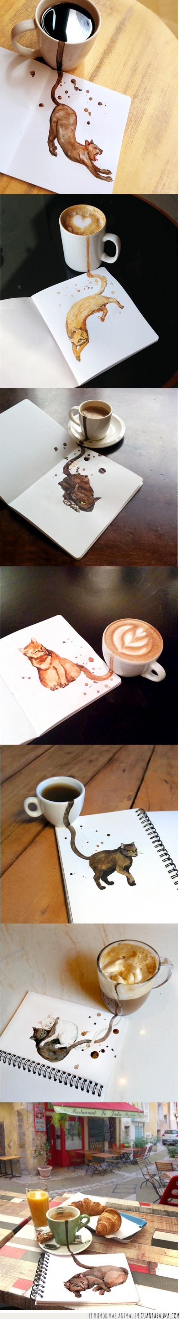 arte,café,felinos,gatos,manchas