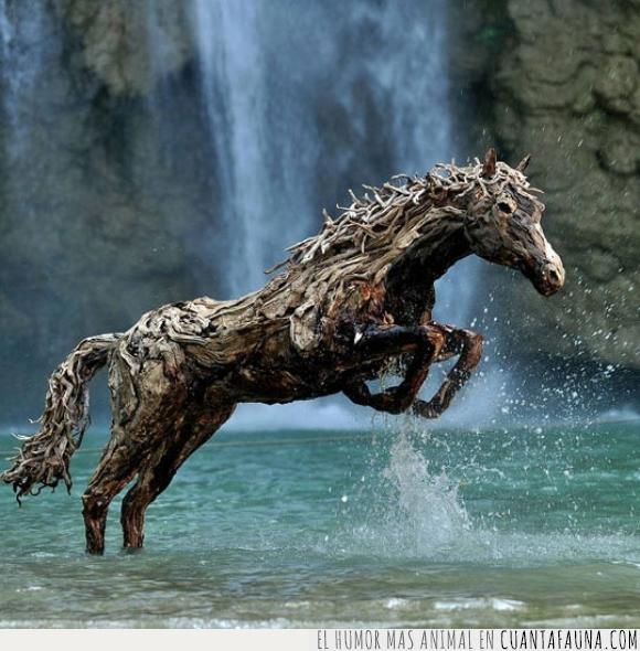 caballo,deriva,escultura,madera,naturaleza,reciclada,reciclaje,rio