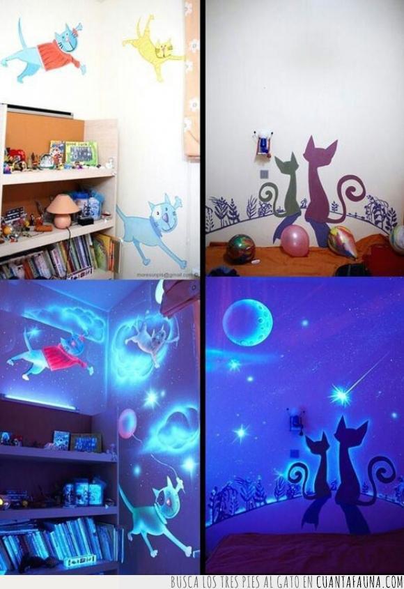 brillante,brillar,brillo,cuarto,decorar,fosforescente,gato,genial,luz,niño,oscuridad