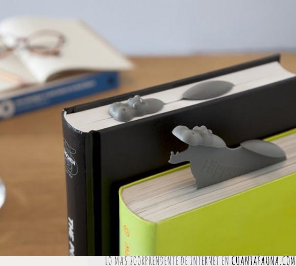 creativo,genial,guay,hipopotamo,marcalibro,marcapaginas,punto de libro