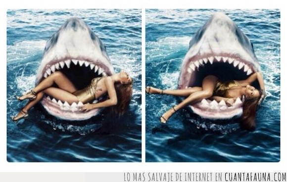 chica,chico,comer,devorar,gusta,matar,modelo,natural,pose,tiburon