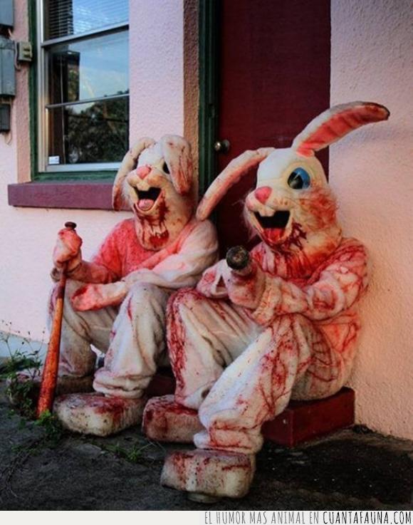conejos,cosplay,disfraz,miedo,pascua,sangre