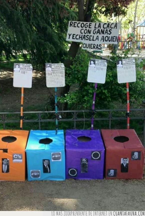 Albert Rivera,basura,cacas,Ciudadanos,elecciones,Mariano Rajoy,Pablo Iglesias,Partido Popular,partidos políticos,Pedro Sanchez,perros,Podemos,PSOE